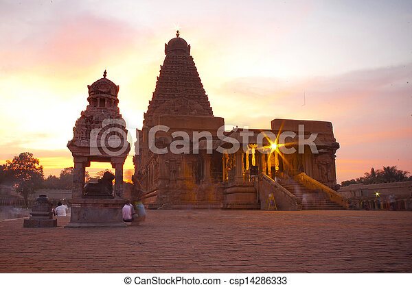nadu, uno, sites., thanjavur, brihadeeswarar, india., herencia, mundo, tamil, templo - csp14286333