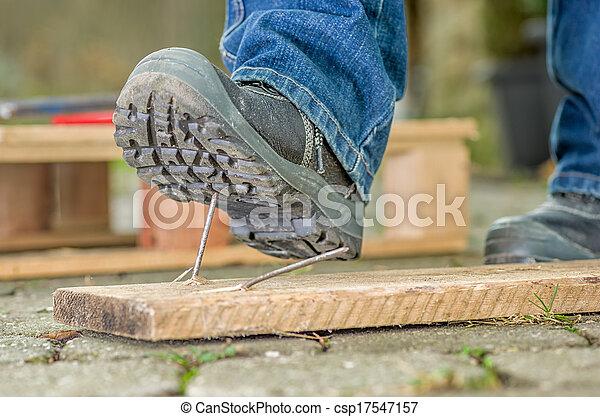 nagel, sicherheit, arbeiter, stiefeln, schritte - csp17547157