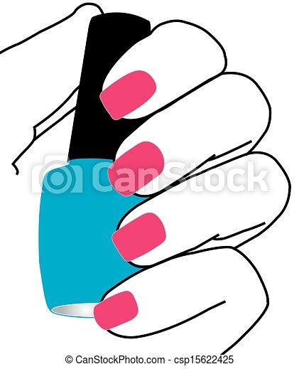 nagellak, spijkers, hand - csp15622425