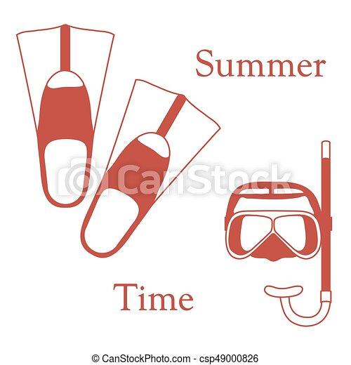 nageoires, récréation, coloré, tube, theme., sports, stylisé, masque, diving., scaphandre, icône - csp49000826