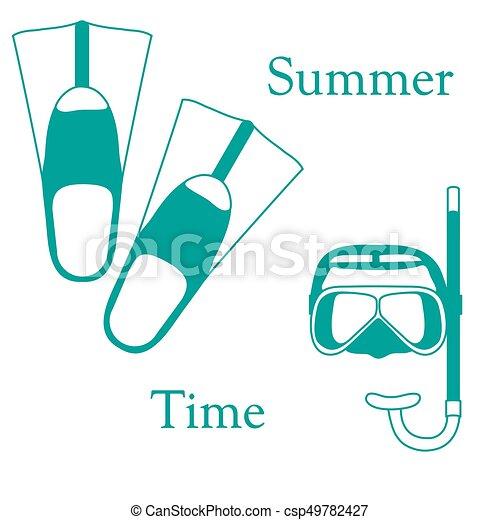 nageoires, récréation, coloré, tube, theme., sports, stylisé, masque, diving., scaphandre, icône - csp49782427