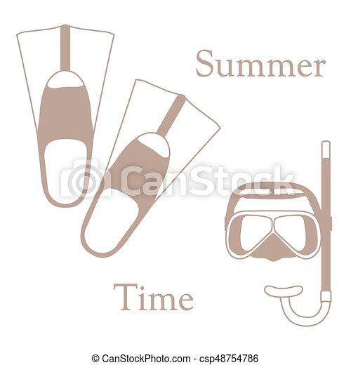 nageoires, récréation, coloré, tube, theme., sports, stylisé, masque, diving., scaphandre, icône - csp48754786