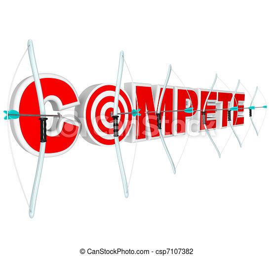 nagroda, dużo, strzały, konkurenci, schyla się, ubiegać się - csp7107382