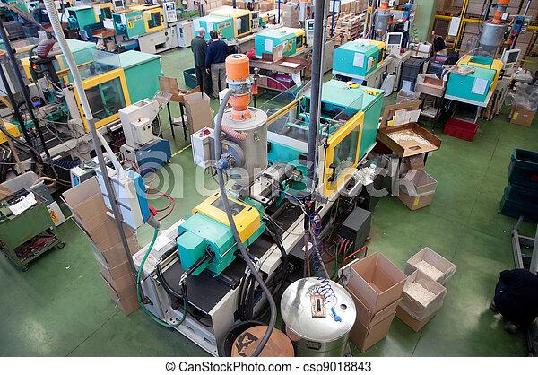 nagy, befecskendezés, gyár, gépek, öntés - csp9018843
