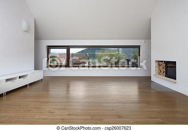 nagy, eleven, ablak, kandalló, szoba - csp26007623