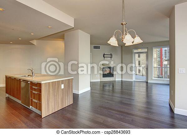 nagy, eleven, fireplace., szoba, üres - csp28843693