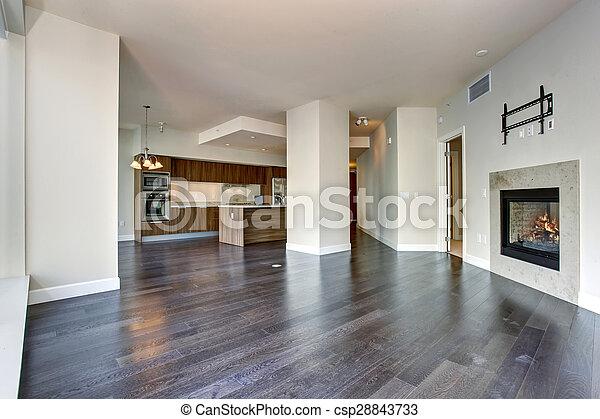 nagy, eleven, fireplace., szoba, üres - csp28843733