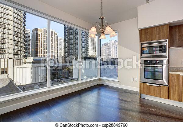 nagy, eleven, fireplace., szoba, üres - csp28843760