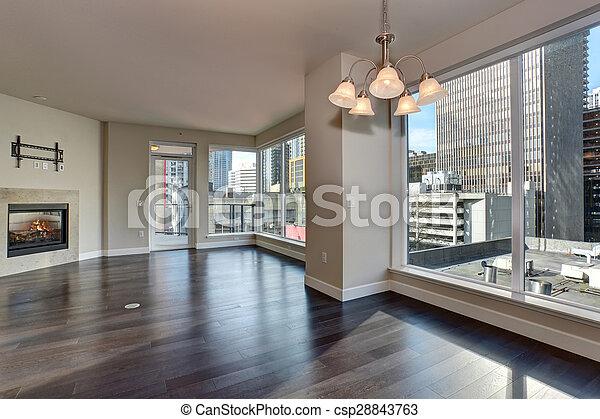 nagy, eleven, fireplace., szoba, üres - csp28843763