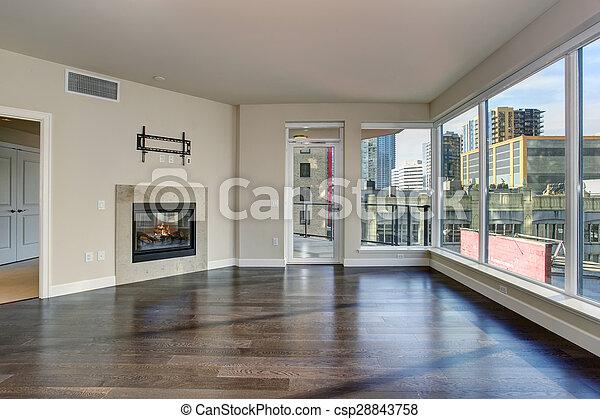 nagy, eleven, fireplace., szoba, üres - csp28843758