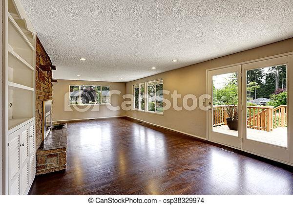 nagy, eleven, kandalló, szoba, üres - csp38329974