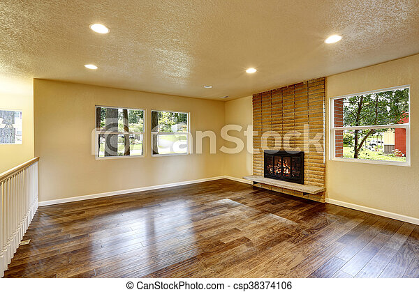 nagy, eleven, kandalló, szoba, üres - csp38374106