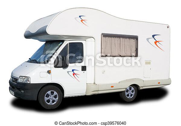 nagy, fehér, kempingező furgon, elszigetelt - csp39576040