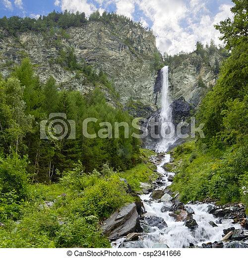 nagy, kő, vízesés, arc - csp2341666