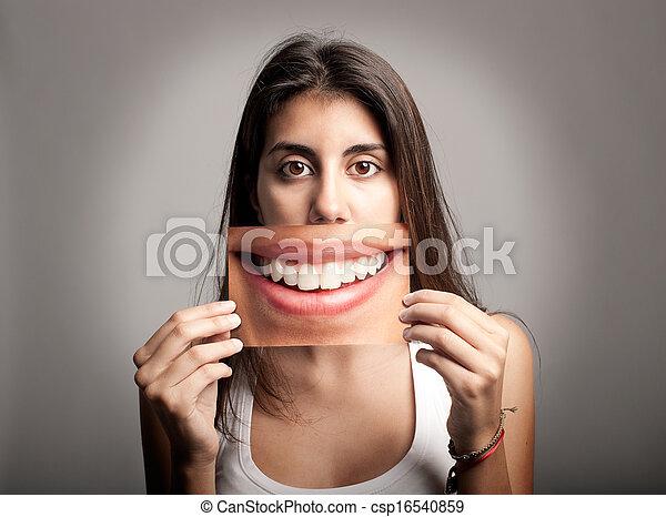 nagy, nő, fiatal, mosoly - csp16540859
