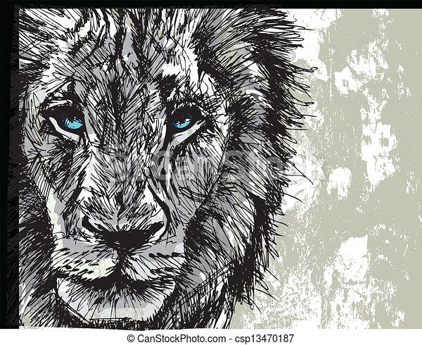 nagy, skicc, hím oroszlán, afrikai - csp13470187