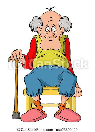 nagyapó, öregedő, kedves - csp23800420