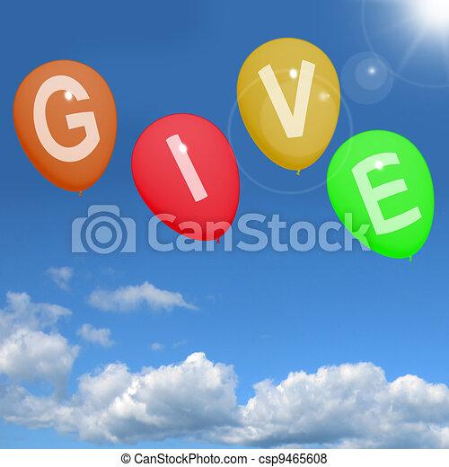 nagylelkű, szó, ad, segítség, adományok, jótékonyság, léggömb, látszik - csp9465608
