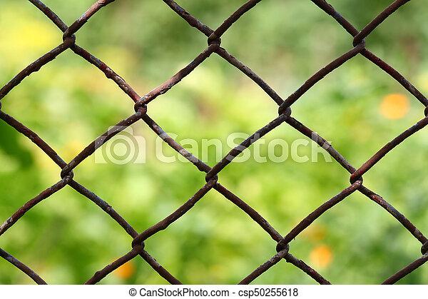 Nahaufnahme, zaun, kette, feld, verwischt, hintergrund., grün ...