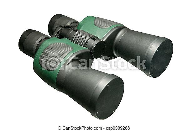 Nahaufnahme zoom freigestellt fernglas schwarz linsen. modern