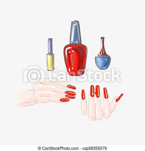 Nail Art And Nail Polish Set Beautiful Female Hands With Red Nails