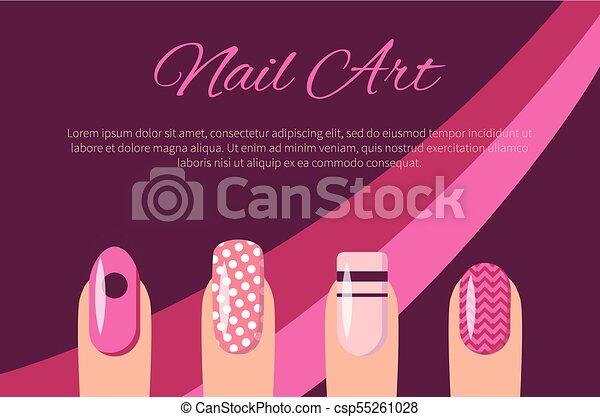 Nail Art Multicolored Poster Vector Illustration Nail Art