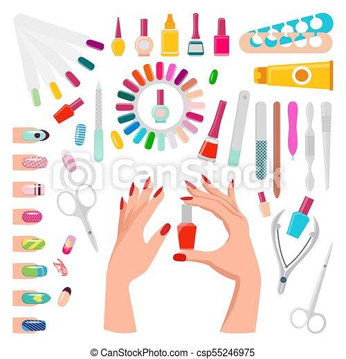 Nail Art Samples And Tools Vector Illustration Nail Art Poster