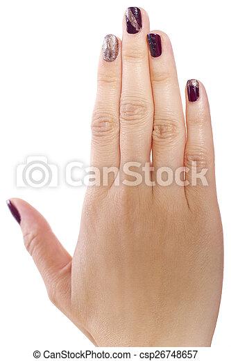 Nail Art Female Hand With Custom Nail Polish Art On White Background