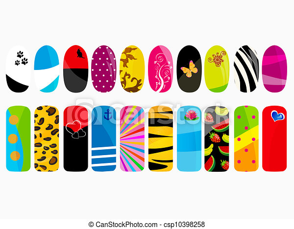 Line Design Clipart Free : Vector illustration of nail designs clipart search