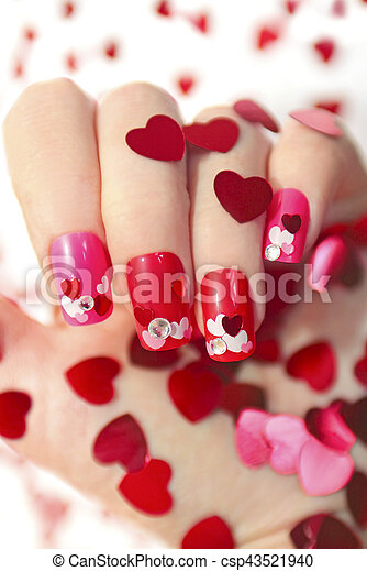 Nail Designs With Hearts Nail Designs With Different Sequins In