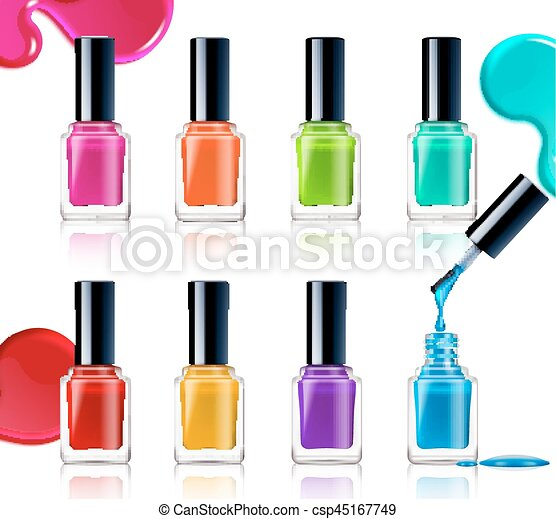 nail polish assortment of beautiful bright colors on white eps rh canstockphoto com nail polish bottle free clip art nail polish bottle free clip art