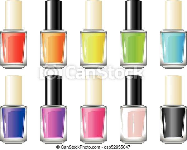 Nail polish bottle. Glossy colorful nail polish, lacquer ...
