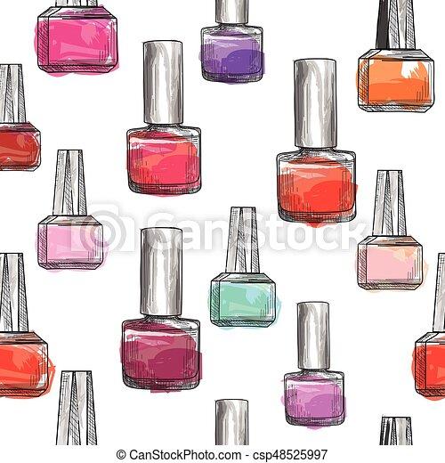 Nail polish bottle pattern. beauty salon background ...