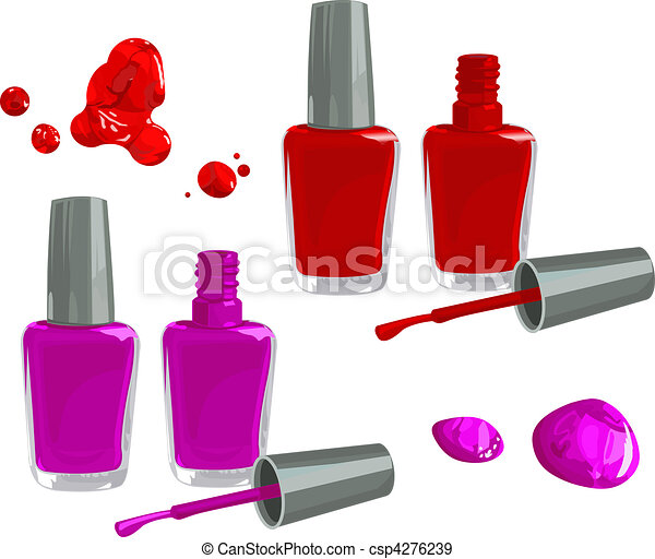 Bottles of nail polish, isolated on white background eps ...