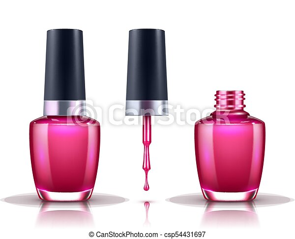 Nail Polish Open Closed Bottle And Drop With Brush