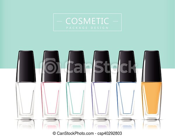 nail polish package set 3d illustration realistic glass bottle