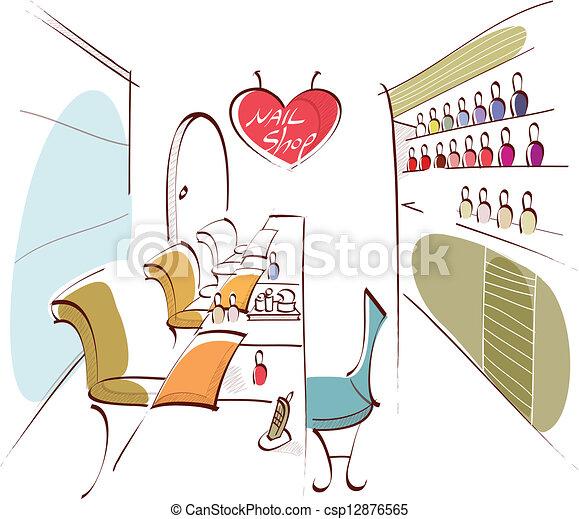 Nail Polish Salon Interior This Illustration Is A Common