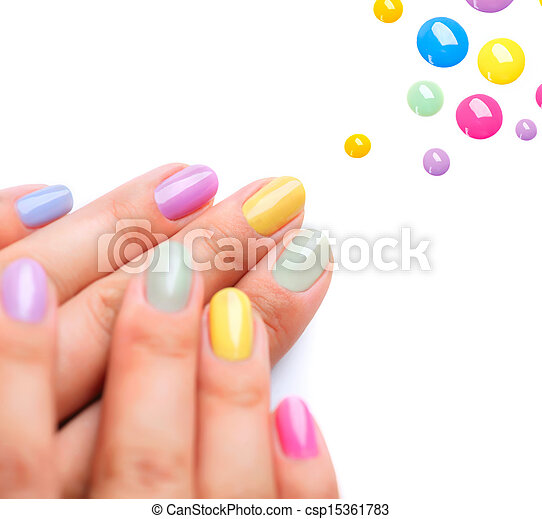 Nail Polish. Trendy Colourful Manicure - csp15361783