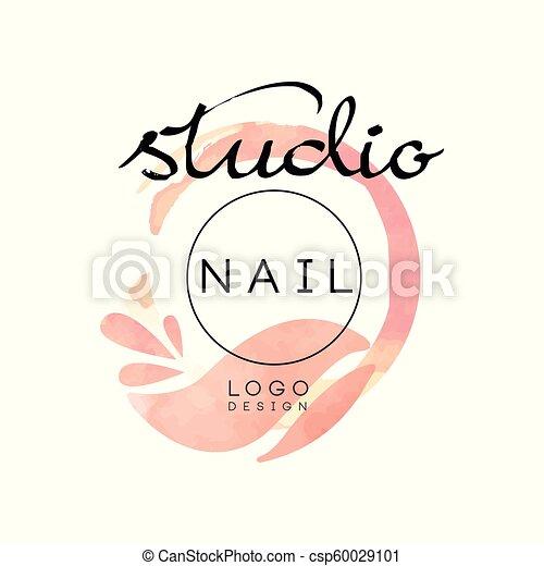Nail Studio Logo Creative Design Element For Nail Bar Manicure