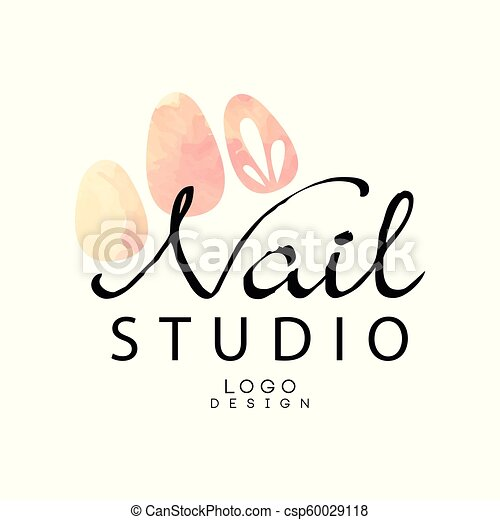 Nail Studio Logo Design Element For Nail Bar Manicure Saloon Manicurist Technician Vector Illustration On A White Canstock