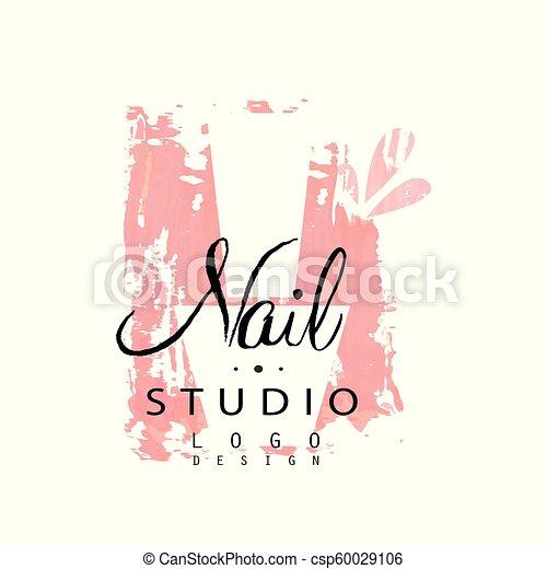 nail studio logo design template for nail bar manicure saloon