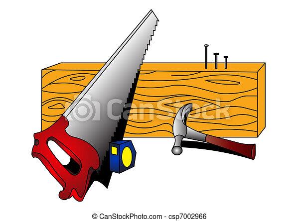 nail, tree, straightedge on white background .  - csp7002966