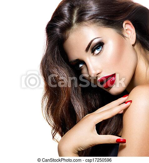 nails., beleza, maquilagem, lábios, excitado, menina, vermelho, provocante - csp17250596