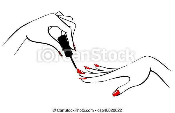 Nails hands2. Vector illustration of hands with nailpolish.
