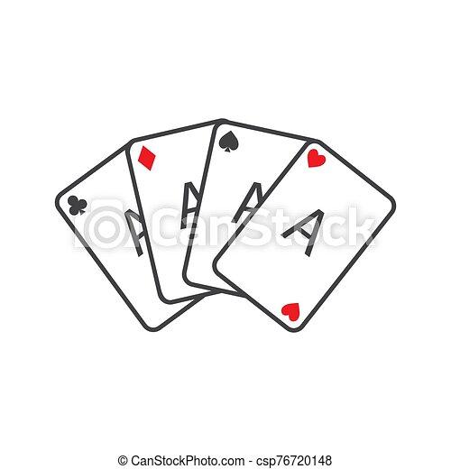 naipes, ganando, cuatro, conjunto, póker, aces., mano. - csp76720148