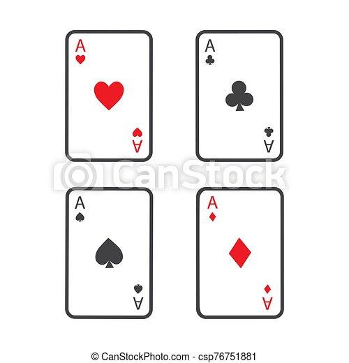 naipes, ganando, cuatro, conjunto, póker, aces., mano. - csp76751881
