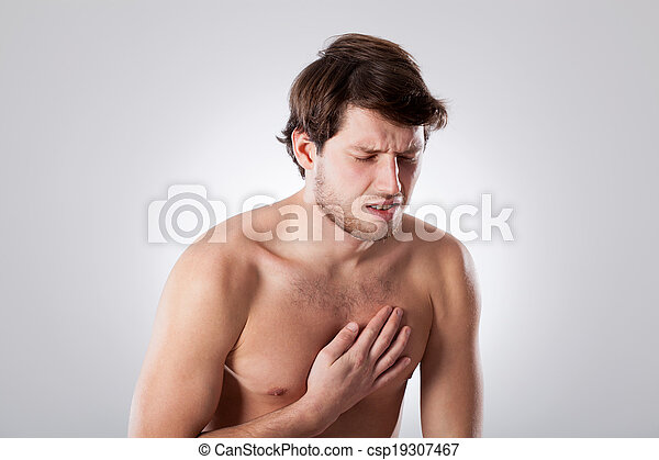 Naked man suffering from chest pain - csp19307467