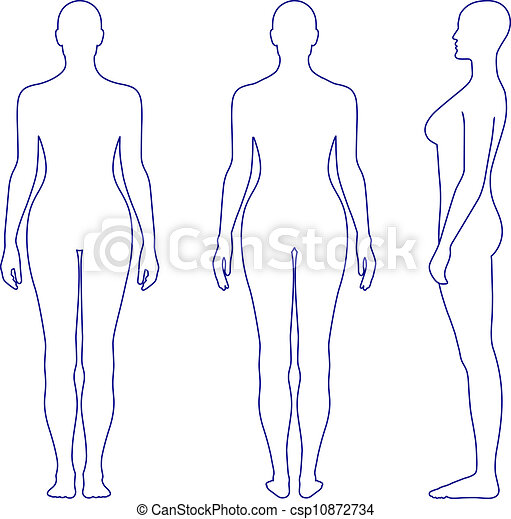 Naked standing woman silhouette - csp10872734