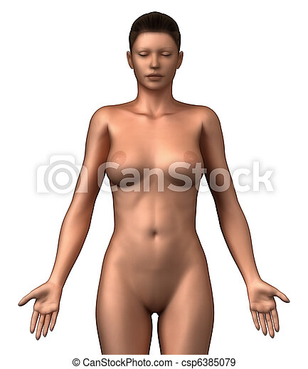 Nude woman in anatomical position