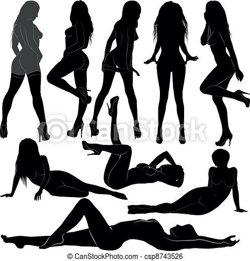 clip silhouette Nude art woman